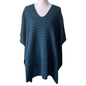 Vince Camuto Ribbed Knit Poncho One Size Teal